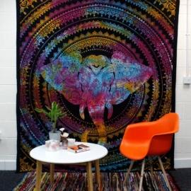Bohém elefántos mandala falifüggő, ágytakaró - 130x200cm