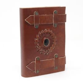 Bőrkötésű napló, notesz kristály díszkővel