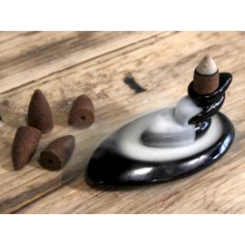 Ovális füstcsobogó - visszaáramló füstölő állvány + ajándék füstülőkúp