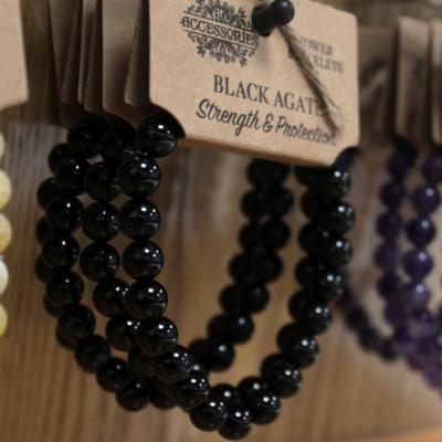 védelmező fekete achát karkötő
