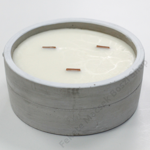 három kanócos nagy illatgyertya beton tálban