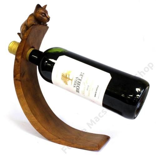 kézi faragású asztali bortartó állvány
