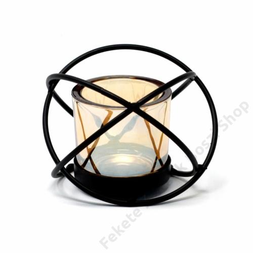 fekete fém gyertyatartó