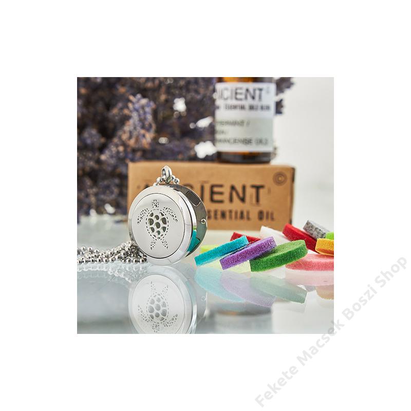 Mágnesesen záródó aroma medál újra használható nemez illat párnákkal.