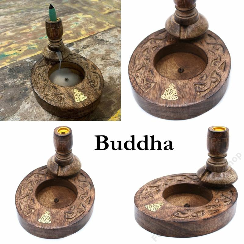 Buddha mintával dekorált lefelé áramló füsthöz füstölő állvány.