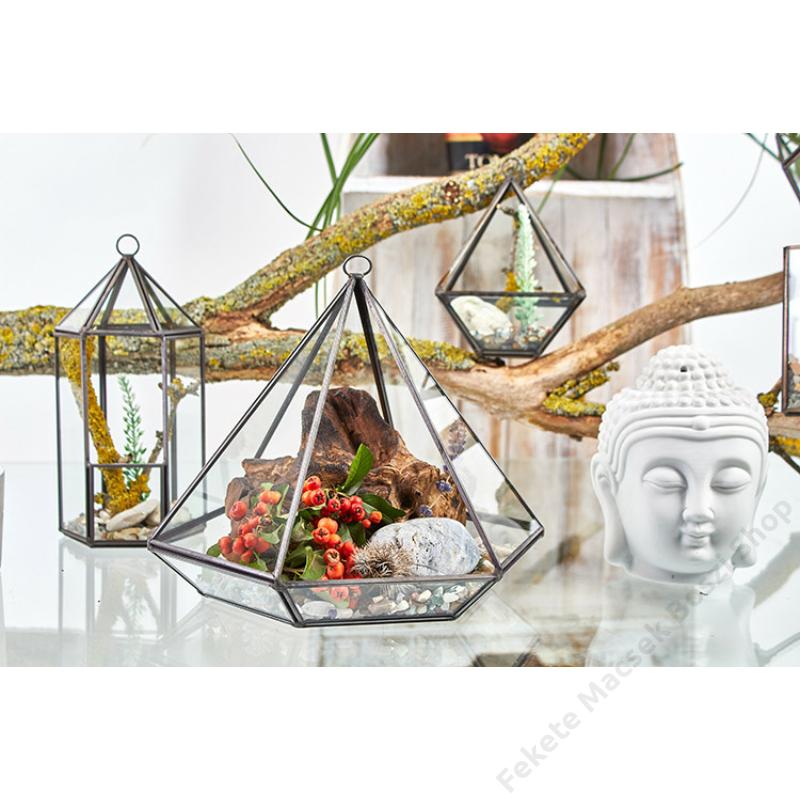 nagy gyémánt alakú florárium mini kerthez és egyedi dekorációkhoz