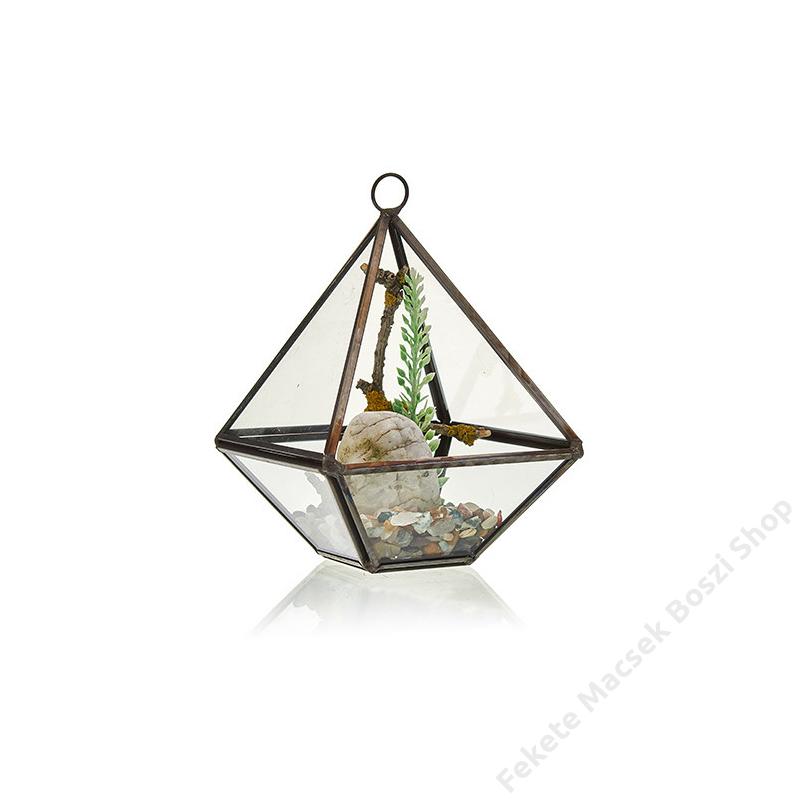 kicsi, gyémánt alakú florárium
