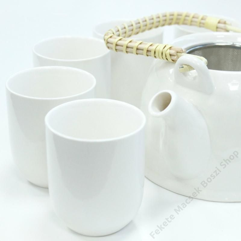 klasszikus tiszta fehér teáskészlet szűrős kanna és hat csésze