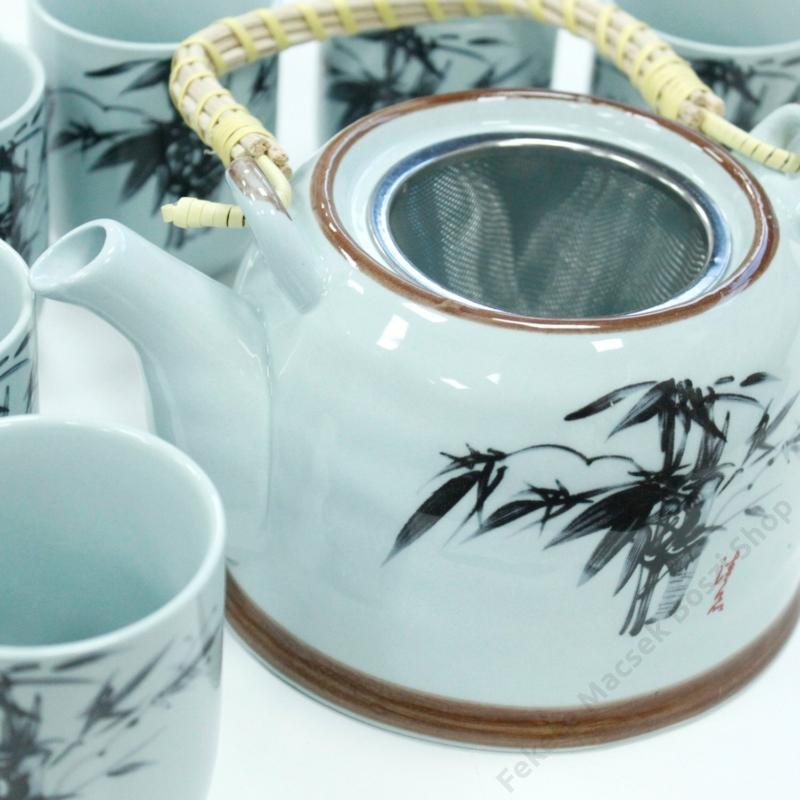 kékes árnyalatú távol-keleti mintájú teáskészlet