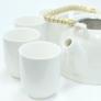 Kép 3/11 - klasszikus tiszta fehér teáskészlet szűrős kanna és hat csésze